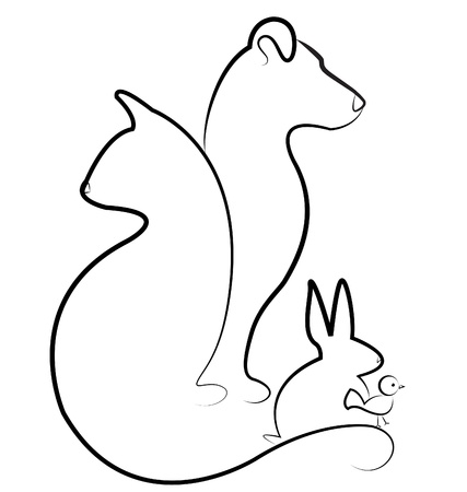 hounds: Cat, dog, bird and rabbit logo vector Illustration