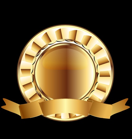 Gold seal ribbon emblem ready to use Vector
