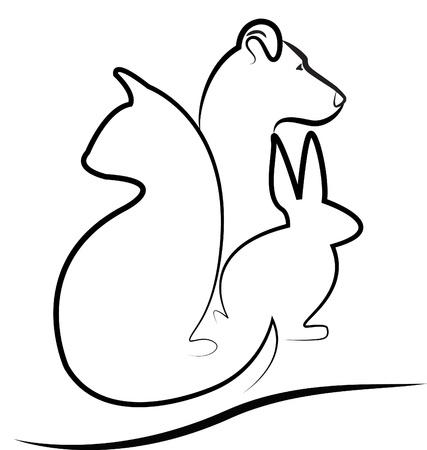 Katze, Hund und Hase silhouette logo vector Standard-Bild - 16734062