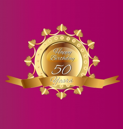 remembered: 50 anniversary gold design vector Illustration