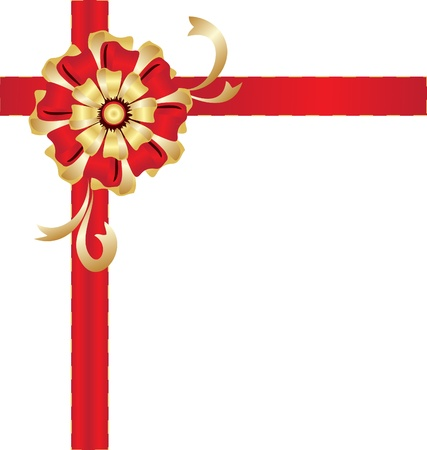 Christmas gold and red bow gift Vector