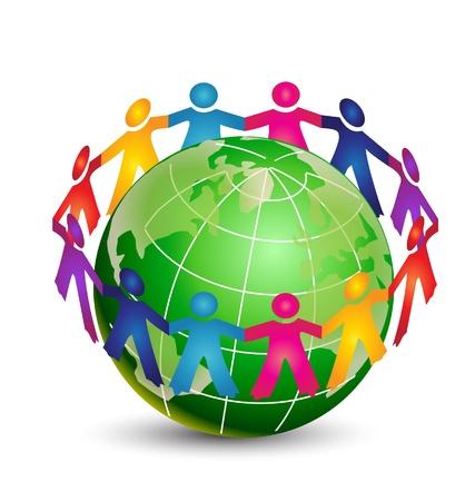 Happy people around world logo vector eps10