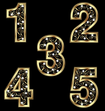 number 5: Gold numbers with swirly ornaments
