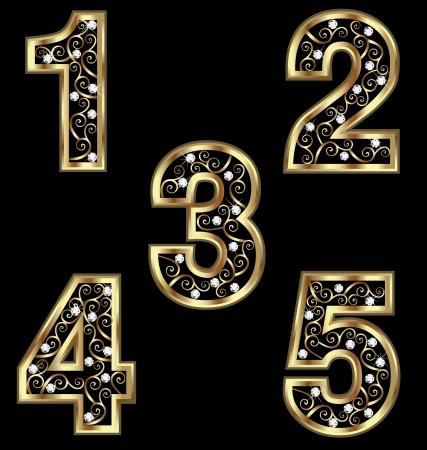 numero uno: N�meros de oro con adornos swirly Vectores