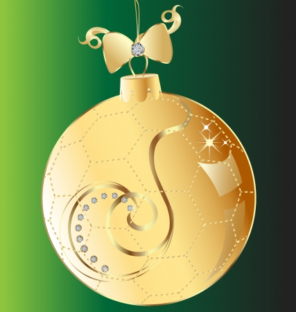 Christmas ball gold bow and swirl ornmament Stock Vector - 16821796