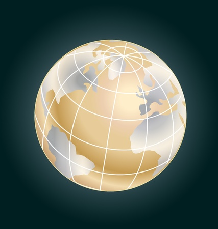 Gold globe  stock Stock Vector - 16821799