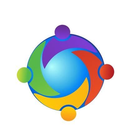 multicultureel: Teamwork op de wereld logo vector