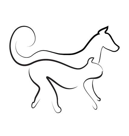Kat en hond lopen samen logo vector Stock Illustratie