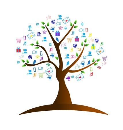 ツリーとネットワー キングのシンボルのロゴのベクトル