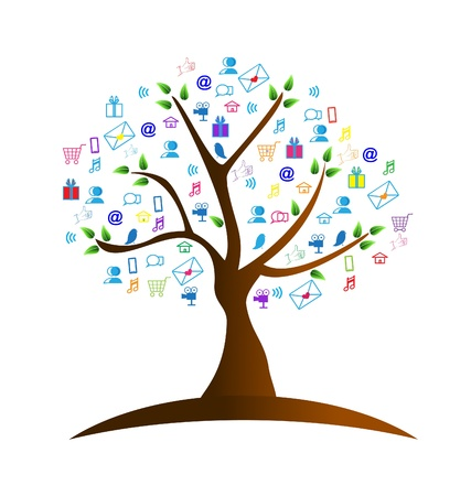 chat: Tree and networking symbols logo vector Illustration