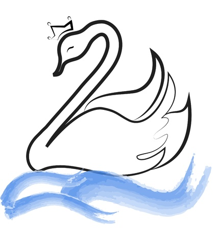 Swan with crown silhouette on lake vector eps10