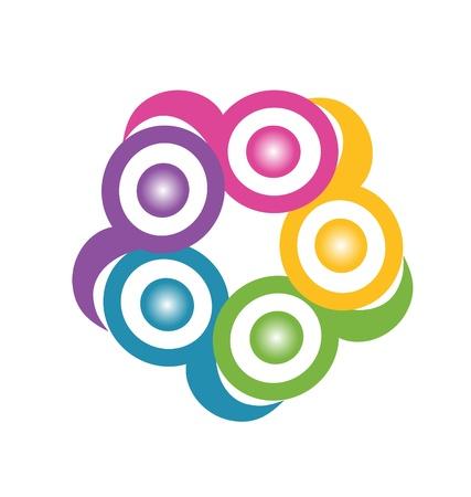 Teamwork in een knuffel symbolische logo vector