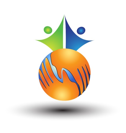 Hands around world and people logo vector Illustration