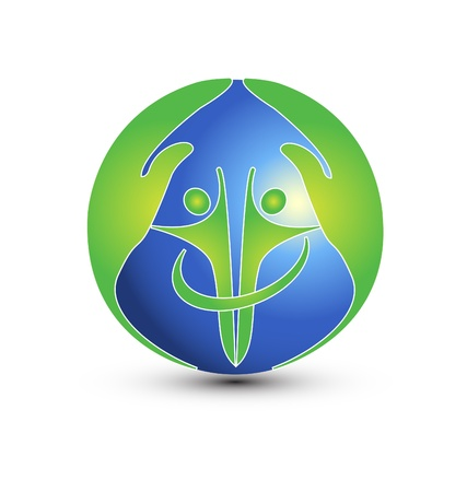 charitable: Hands and people protect the world logo vector