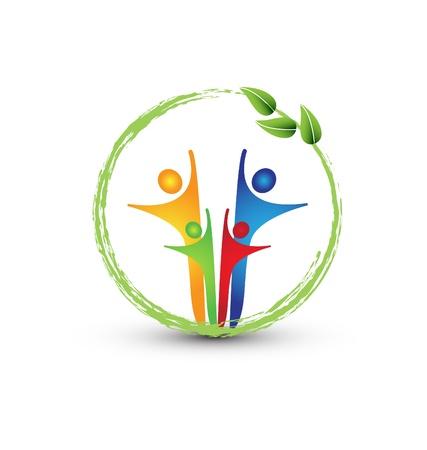 comunidades: Familia y ecolog�a sistema vector logo