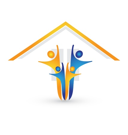 casa logo: Casa e felice vettore logo famiglia