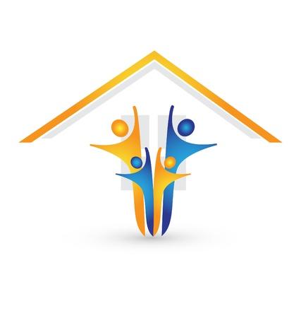 unificar: Casa y familia feliz vector logo