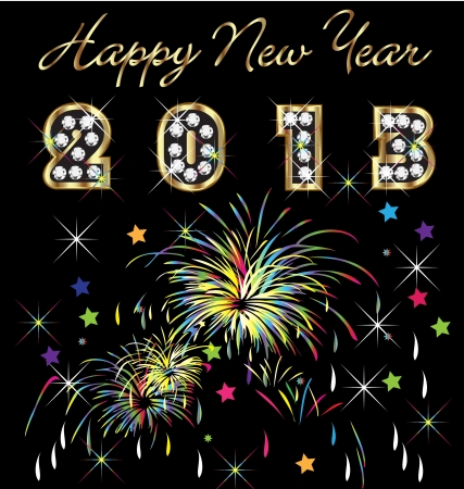 Happy new year 2013 with fireworks   Vector