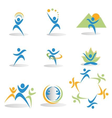 健康、自然、ヨガ、ビジネス、社会的なアイコンのロゴ