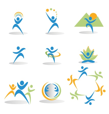 Health, nature, yoga, business, social icons logos Vector