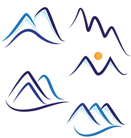 montagne: Set di logo stilizzato Snowy Mountains Vettoriali