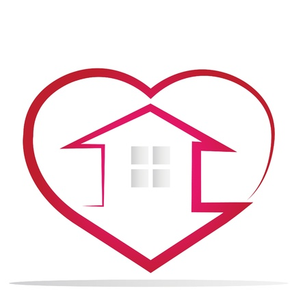 House and heart logo vector Vector