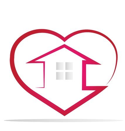 Huis en hart-logo vector Stock Illustratie