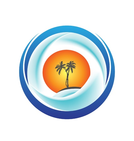 Tropical island with palms, sun and waves logo Vector