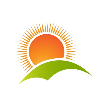 Sun and hill mountain logo vector Illustration