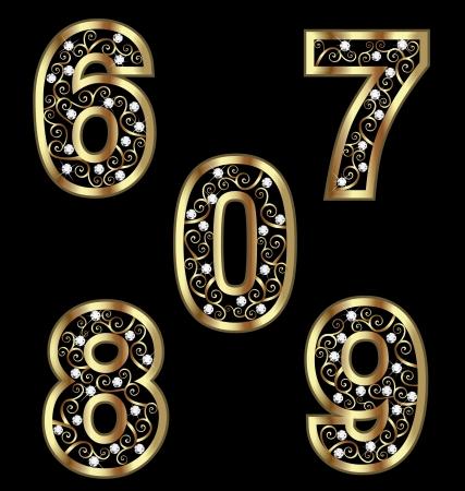 diamond jewelry: Numeri d'oro con ornamenti swirly 2 Vettoriali