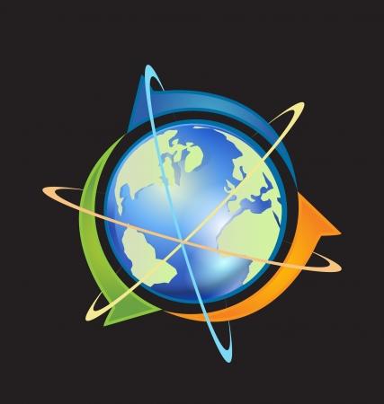 Wereld met pijlen zakelijke relatie Stock Illustratie