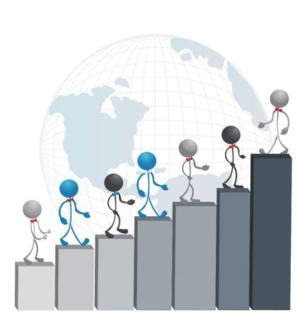Business mannen beklimmen van een succesvolle statistiek grafieken