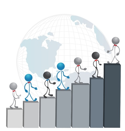 free images stock: Business men climbing a successful statistic graphs