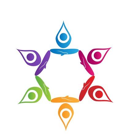 Teamwork yoga people logo   Illustration