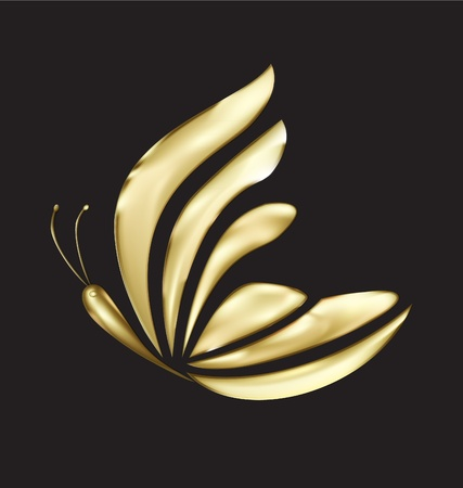 Gold butterfly luxe logo vector