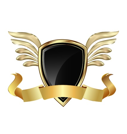 Gold Shield with wings and bow vector Vector