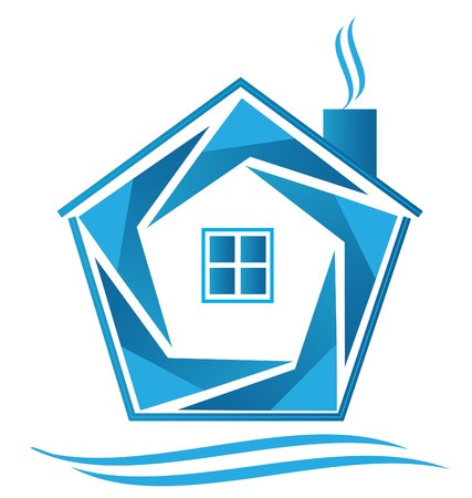 glass house: Blue house icon logo vector