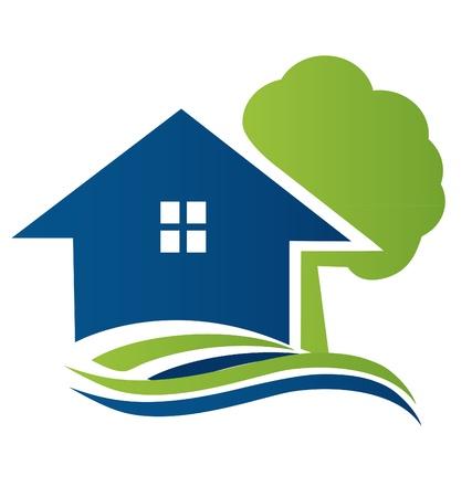 Dom z drzewa i fale logo wektor