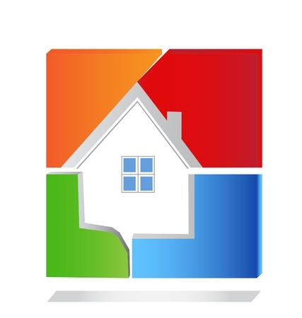 roof line: Casa cuadrado vector logo