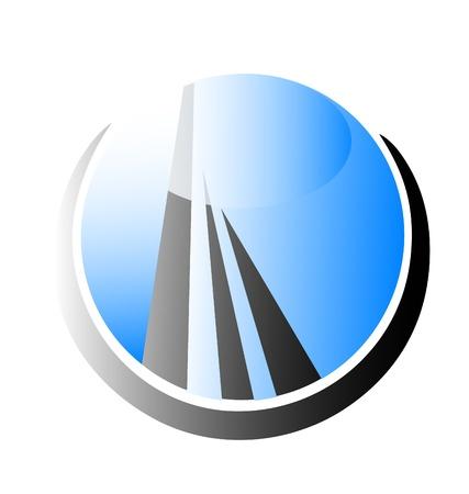 townhouses: Edificio Rascacielos vector logo Vectores