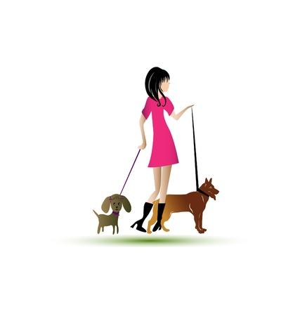 Lady wandelen honden Stock Illustratie