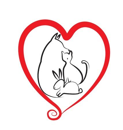 háziállat: Kutya, macska és a szív logo