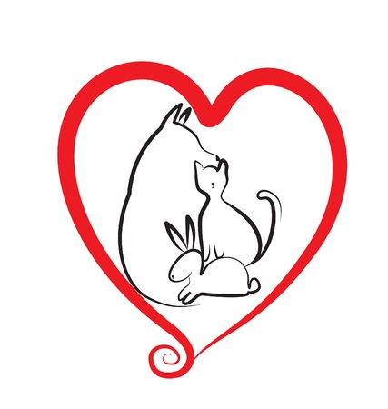 Pets and heart logo  Vector