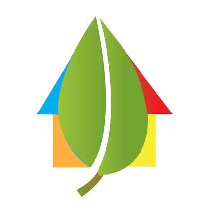 House and leaf logo Vector
