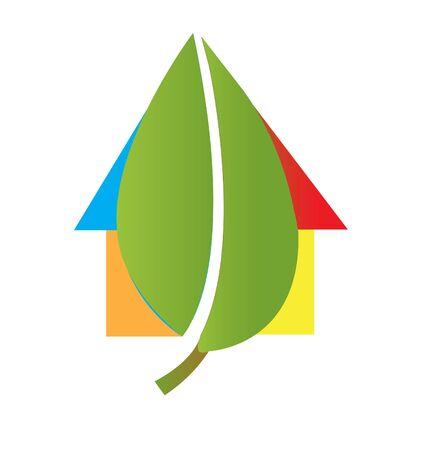house logo: House and leaf logo