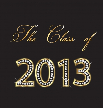 The class of 2013 gold and diamonds design Stock Vector - 17472730
