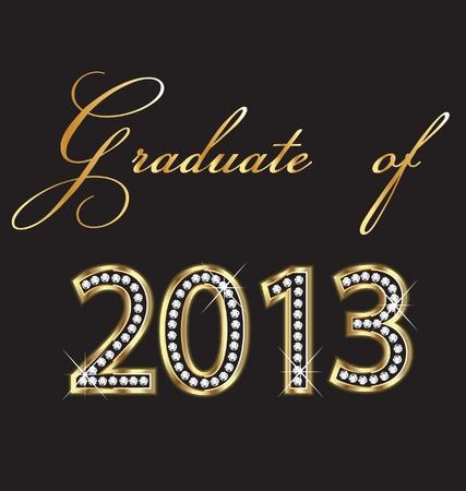alumni: Los graduados de 2013 de oro y diamantes dise�o Vectores