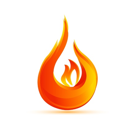 flammable warning: Fire flames Illustration