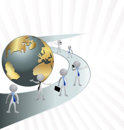 Les hommes d'affaires, les routes et vecteur globe Vecteurs