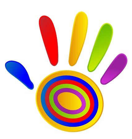 생생한 색상으로 색칠 손 스톡 콘텐츠 - 17665330